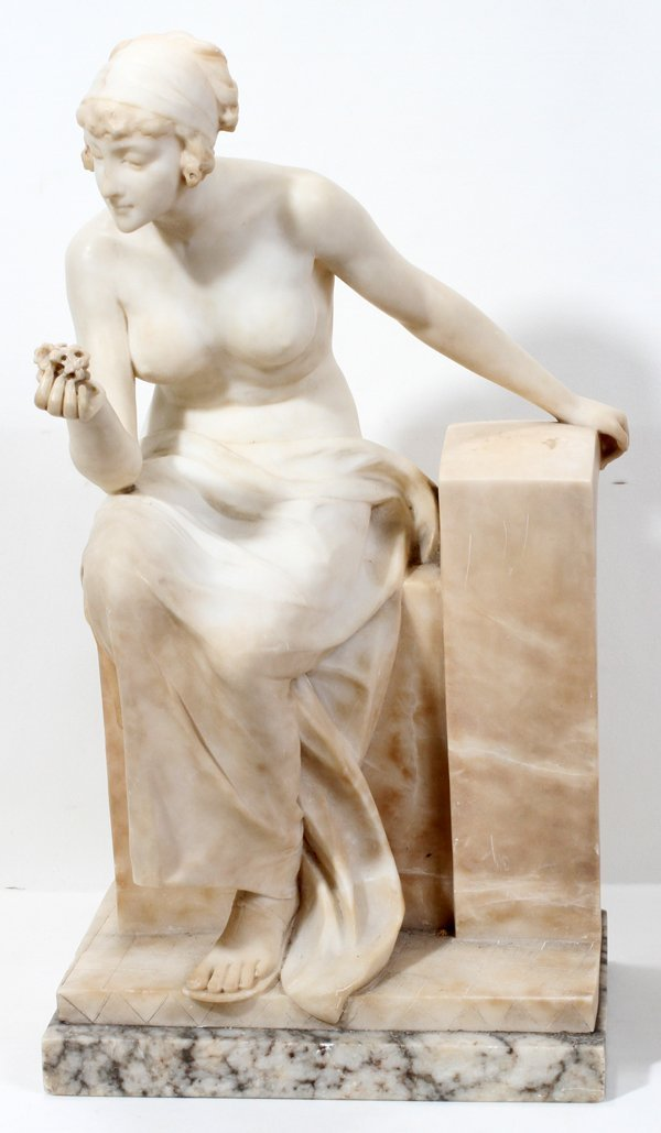 060014: ITALIAN CARVED CARRERA MARBLE SCULPTURE, C. 190