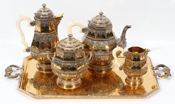 061002: FRENCH GILDED STERLING & IVORY TEA & COFFEE SET
