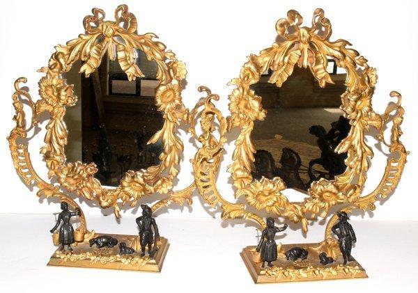 061003: FRENCH GILT BRONZE MIRRORS, 19TH CENTURY, PAIR,