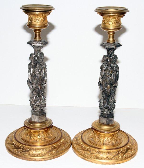 061005: ART NOUVEAU GILT METAL CANDLESTICKS, PAIR,