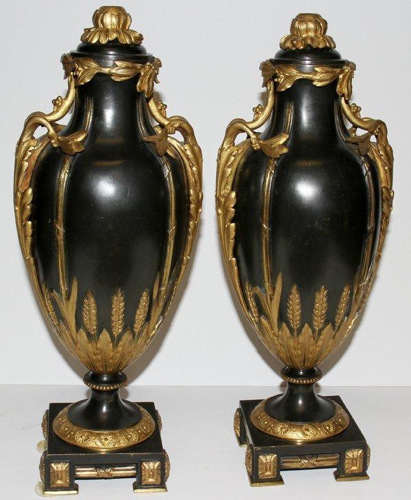 061008: FRENCH GILT & PATINATED BRONZE COVERED URNS,
