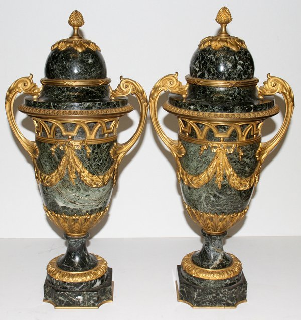 061011: FRENCH GILT BRONZE & MARBLE COVERED URNS, PAIR,