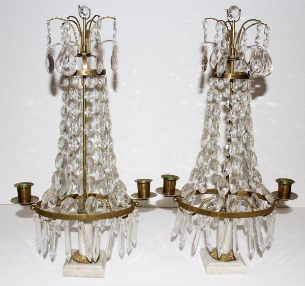 061012: FRENCH BRASS & CRYSTAL GIRANDOLES, C. 1900, PAI