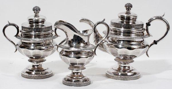 061018: JONES, LOWS & BALL COIN SILVER TEA SET, BOSTON,