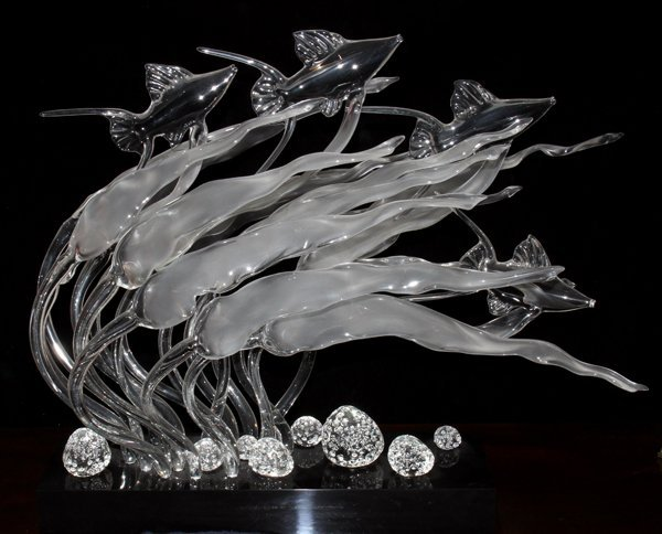 "061023: GUYOL GLASS SCULPTURE, H 18"", W 15"", L 24"""