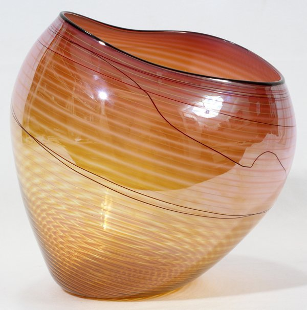 """061024: DALE CHIHULY GLASS BASKET, H 9"""", W 8 1/2"""""""