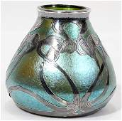 061026: ART NOUVEAU SILVER-MOUNTED ART GLASS BUD VASE