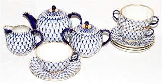 ST PETERSBURG RUSSIAN PORCELAIN TEA SET, 11 PCS