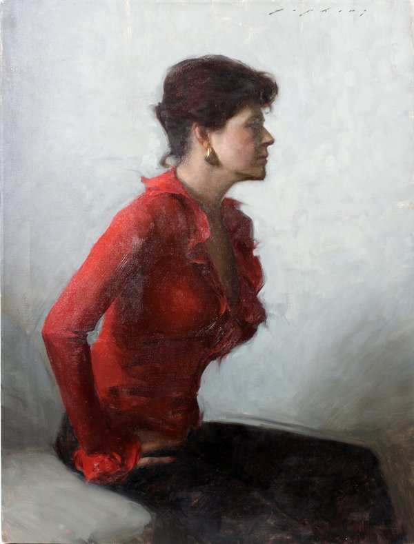 """062001: JEREMY LIPKING, OIL ON CANVAS,""""WOMAN IN RED"""""""