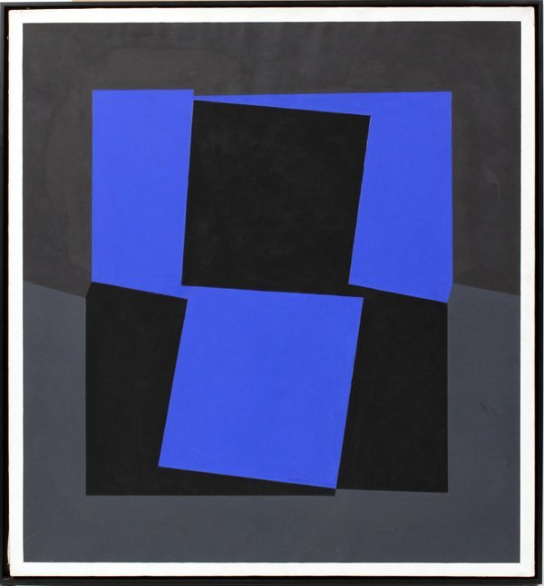 """062039: VICTOR VASARELY, OIL/CANVAS, 34 1/4"""" X 31 1/2"""""""