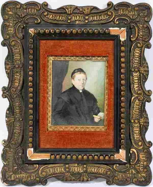 WATERCOLOR ON IVORY PORTRAIT MINIATURE, 19TH C.