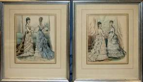 """062443: COLORED LITHOS, 2, 11"""" X 8"""", VICTORIAN WOMEN"""