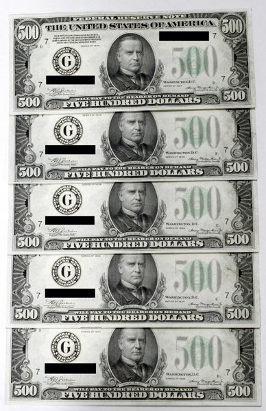 100004: FIVE FEDERAL RESERVE NOTES, $500, 1934 SERIES