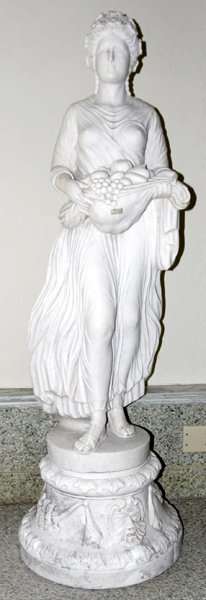 100007: CARVED MARBLE SCULPTURE, 'STANDING FEMALE'