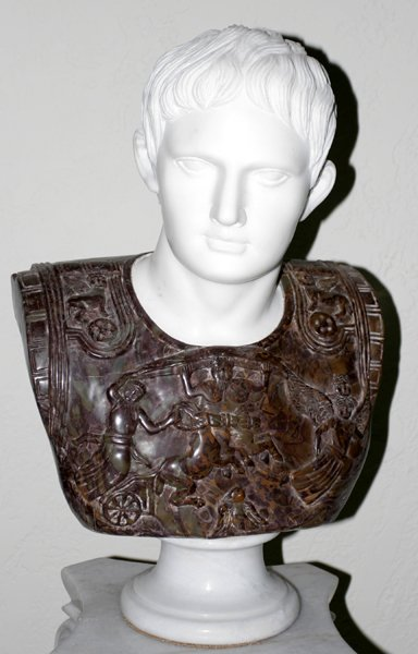 "100012: CARVED TWO-TONE MARBLE BUST, ""AUGUSTUS"""