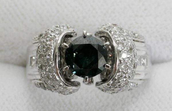 100014: BLUE DIAMOND, DIAMOND & WHITE GOLD RING
