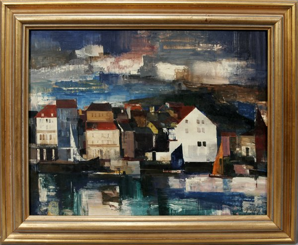 100023: ZOLTAN SEPESHY, OIL ON BOARD, FISHING VILLAGE