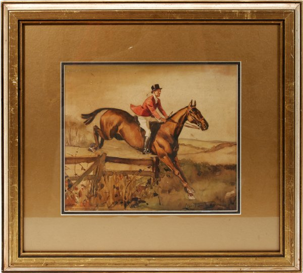 100025: LIONEL EDWARDS, WATERCOLOR, RIDER ON HORSEBACK