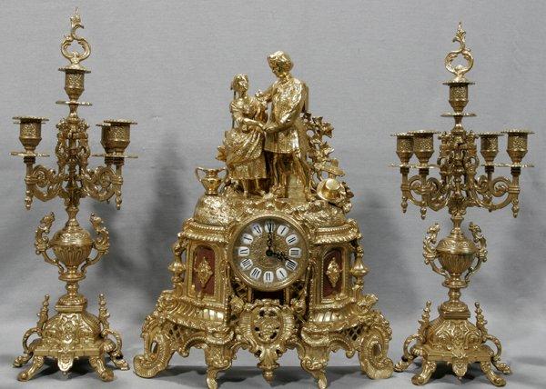 100142: ITALIAN, IMPERIAL BRASS CLOCK & CANDELABRAS
