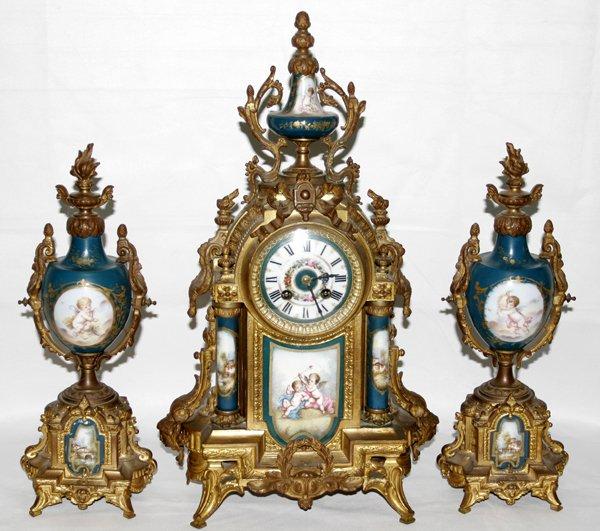 101026: GILT METAL & SEVRES PORCELAIN CLOCK GARNITURE