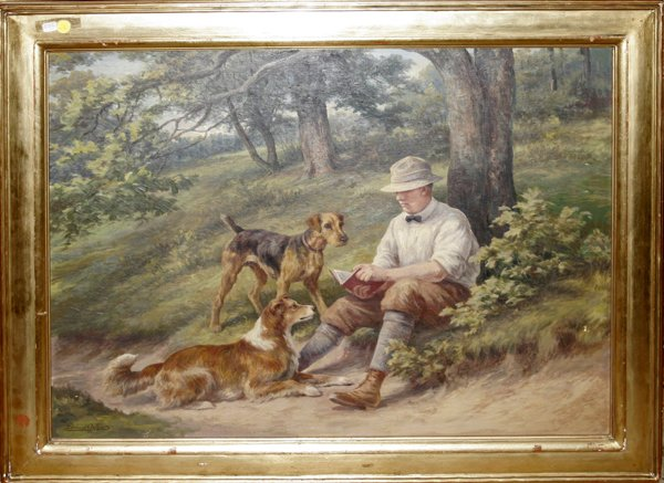 102002: EDMUND OSTHAUS, OIL ON CANVAS, HUNTER W/ DOGS