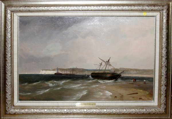 102009: GEORGE BONFIELD, OIL ON CANVAS, STRANDED SHIP