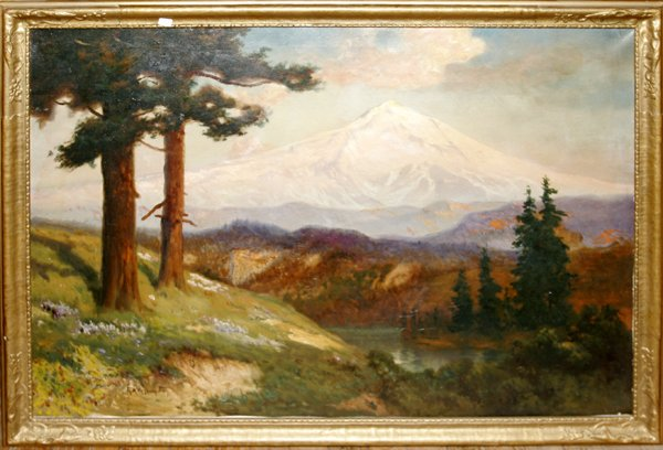 102011: ROBERT A. FOX, OIL ON CANVAS, WEST LANDSCAPE