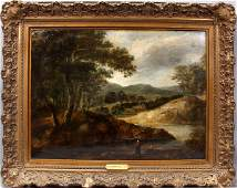 102197: ATTR. TO JOHN CONSTABLE, OIL ON CANVAS, RIVER