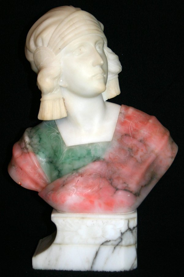 070004: LIBEREO GREMIGNI (ITALY) MARBLE BUST OF A WOMAN