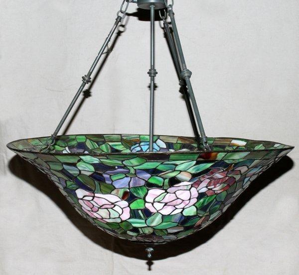 "070017: TIFFANY STYLE HANGING LAMP, H 14"", DIA 28"""