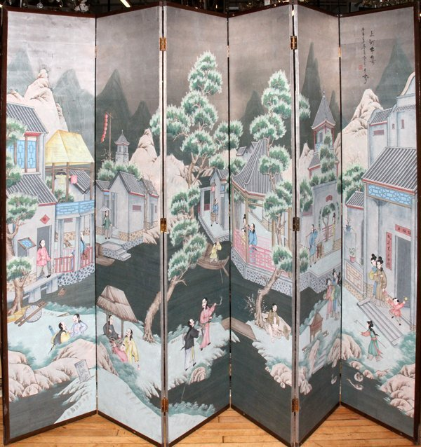 070021: CHINESE HAND PAINTED 6-PANEL SCREEN 20TH C,