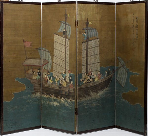 070022: CHINESE HAND PAINTED FOUR-PANEL SCREEN 20TH C,