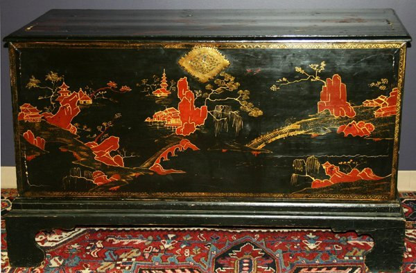 """070024: CHINESE BLACK LACQUER CHEST, H 34"""", W 58"""","""