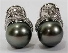 070115: 10MM TAHITIAN PEARL & DIAMOND CLIP EARRINGS