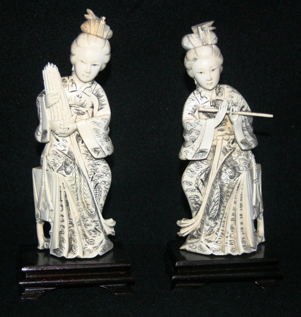 """070117: IVORY FEMALE FIGURES, TWO, H 8"""", W 3"""""""