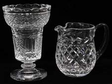 WATERFORD CRYSTAL PITCHER & VASE, TWO PIECES
