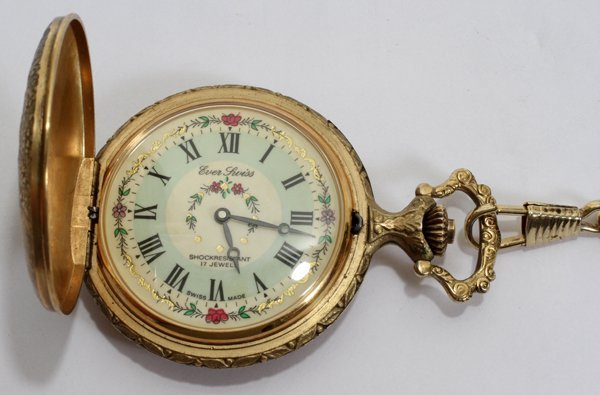 070330: EVER SWISS, HUNTING CASE POCKET WATCH ON FOB