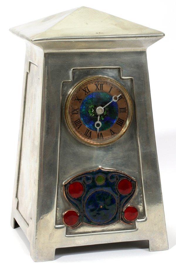 071001: LIBERTY & CO. 'TUDRIC' PEWTER & ENAMEL CLOCK, E