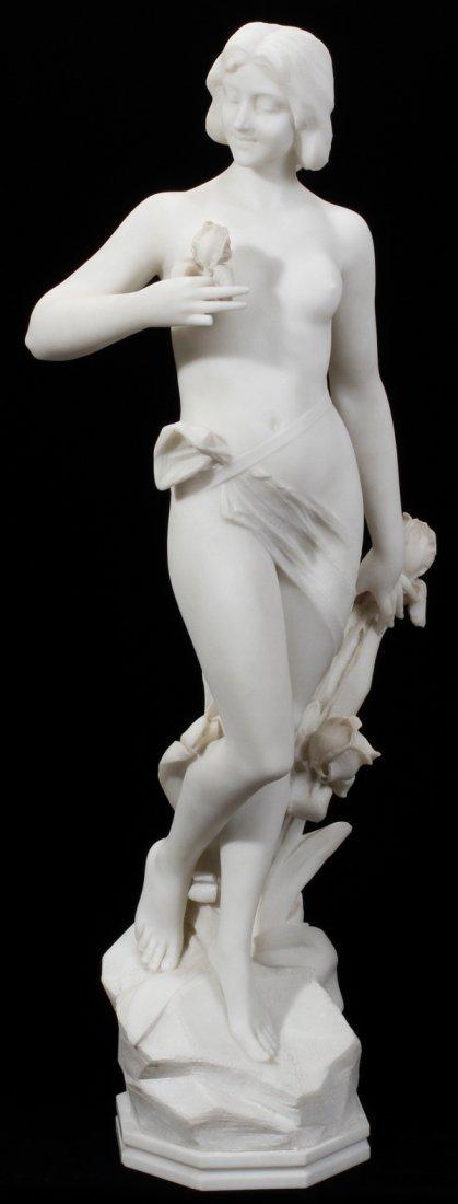 """071009: CARRARA MARBLE SCULPTURE, C. 1900, H 37"""", NUDE"""