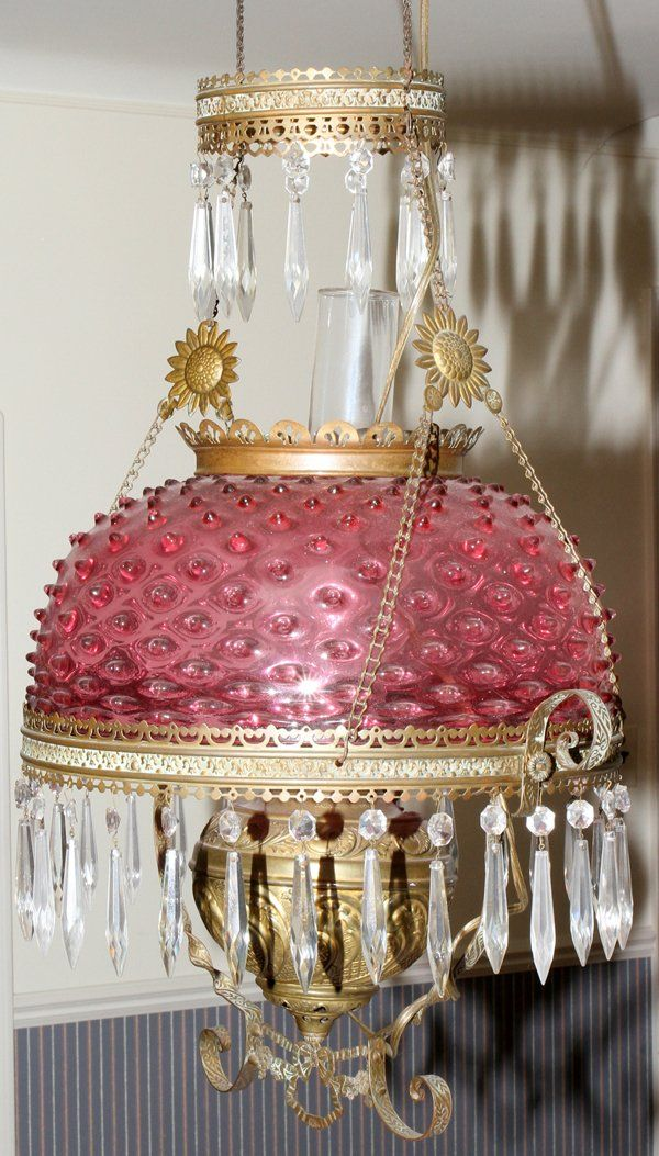 VICTORIAN CRANBERRY GLASS & BRASS HANGING OIL L