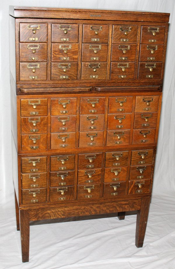 071468: GAYLORD BROS. OAK LIBRARY CARD CATALOG CABINETS