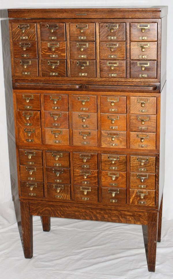071468: GAYLORD BROS. OAK LIBRARY CARD CATALOG CABINETS - 3