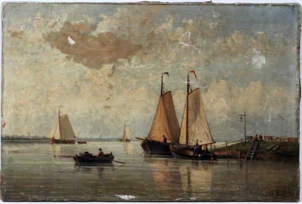 072019: HENDRIK HULK (DUTCH 1842-1937), OIL ON CANVAS