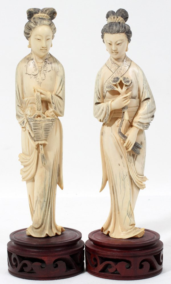 072303: CHINESE CARVED IVORY FEMALE FIGURES, PAIR