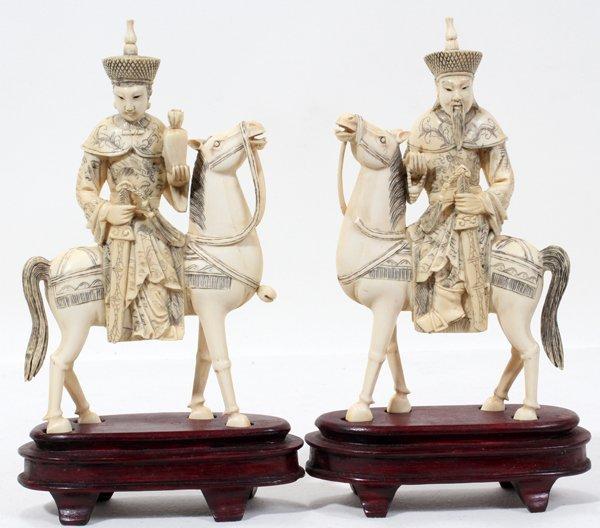 072305: ORIENTAL CARVED IVORY RIDERS ON HORSEBACK, PAIR
