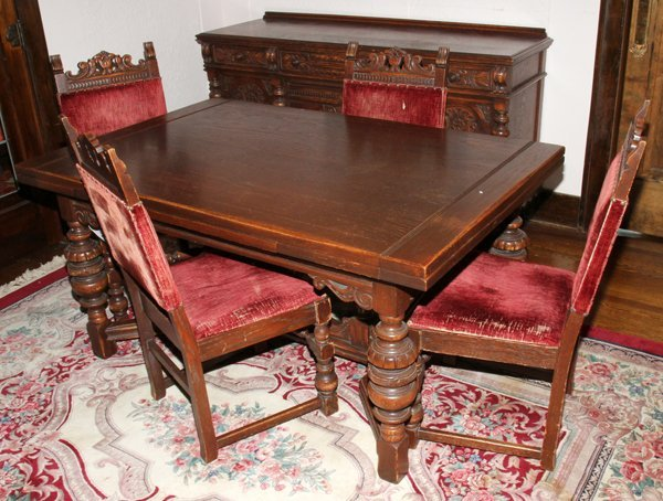 jacobean style carved oak dining set
