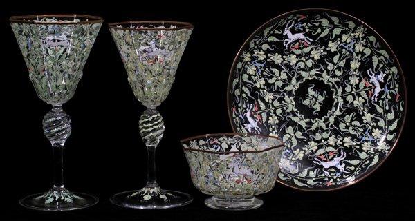 080001: VENETIAN ENAMEL GLASS STEMWARE & TABLE WARE