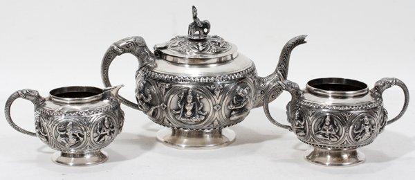 "080003: INDIAN SILVER TEA SET, THREE PIECES, H 3""- 5"""