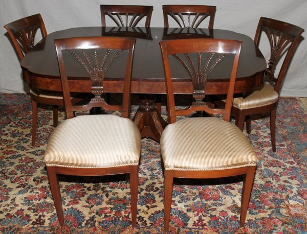 """080009: MAHOGANY DINING TABLE & CHAIRS (12), W 48"""","""