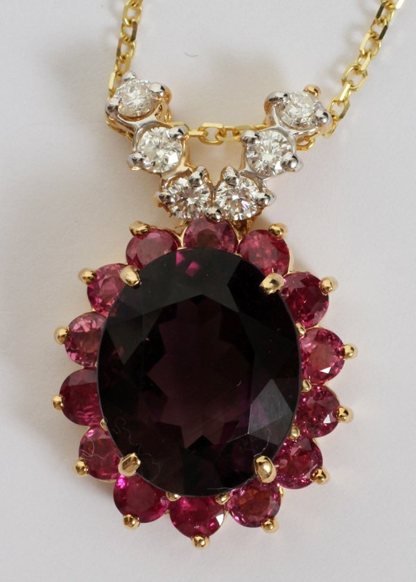 080021: 8.96CT NATURAL AMETHYST & 4.00CT RUBY PENDANT,